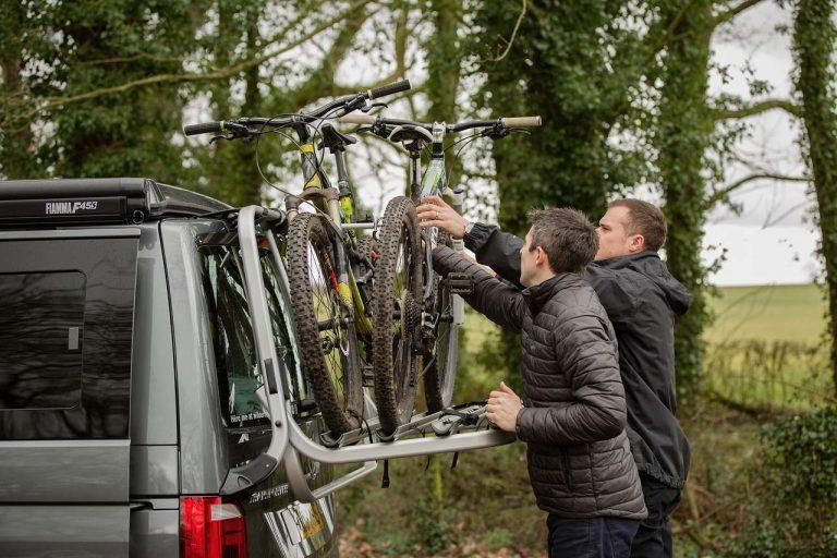 Loading Mountain Bikes onto the campervan